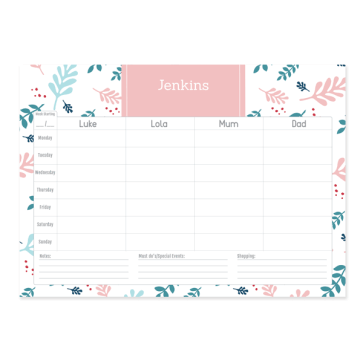 Personalised Weekly Desk Planner