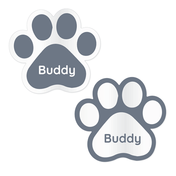 Clear Stick-On Pet Name Labels - Shaped