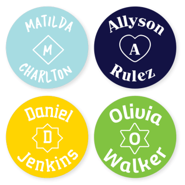 Stick On Clothing Labels - Monogram Large Round