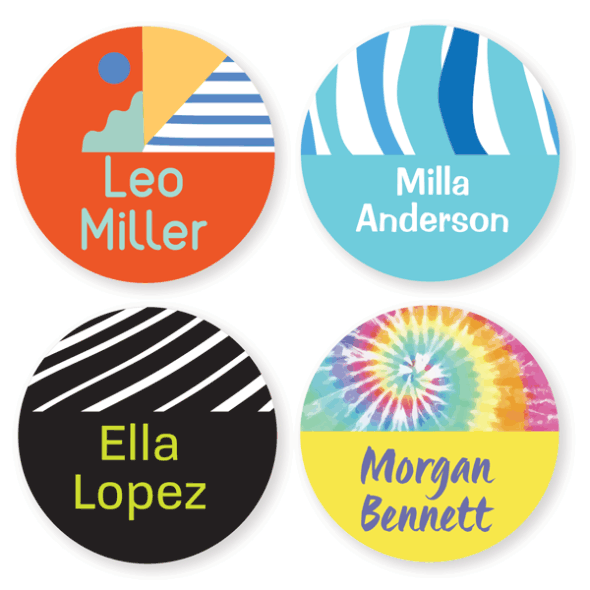 Name Labels - Pattern Large Round