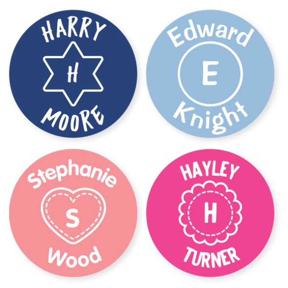 Iron On Labels - Monogram Large Round