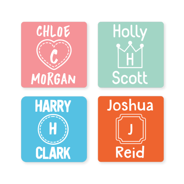 Name Labels - Monogram Square