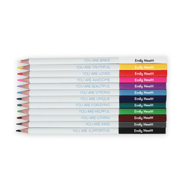 Personalized Positivity Coloring Pencils