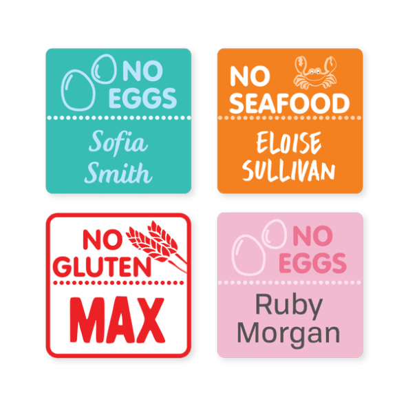 Iron On Labels - Allergy Square