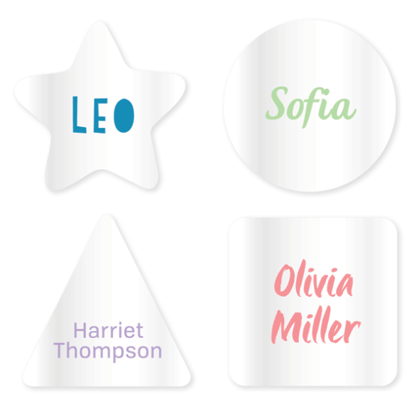 Name Labels - Clear Geometric
