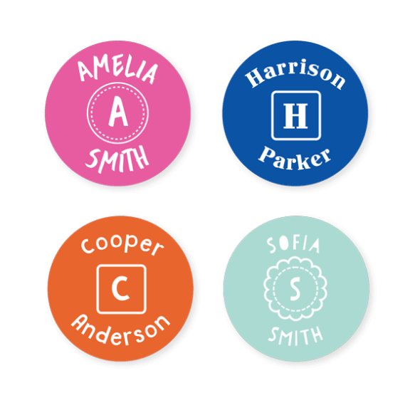 Name Labels - Monogram Round