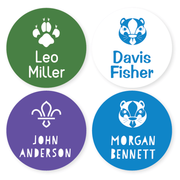 UK Scout Name Labels - Large Round