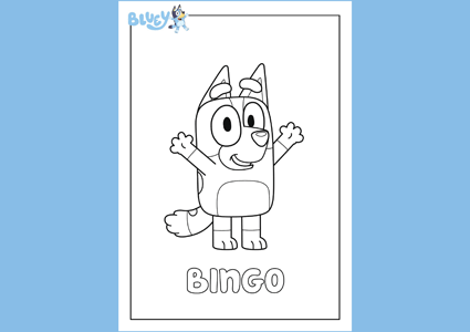 Bluey Bingo kids colouring page