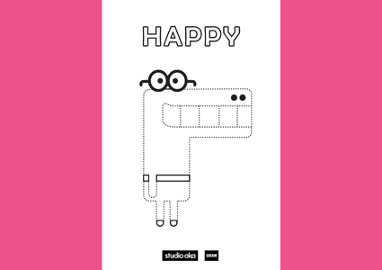 Hey Duggee happy colouring in page