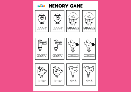 Hey Duggee memory game activity for kids