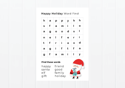Christmas word find activity for kids